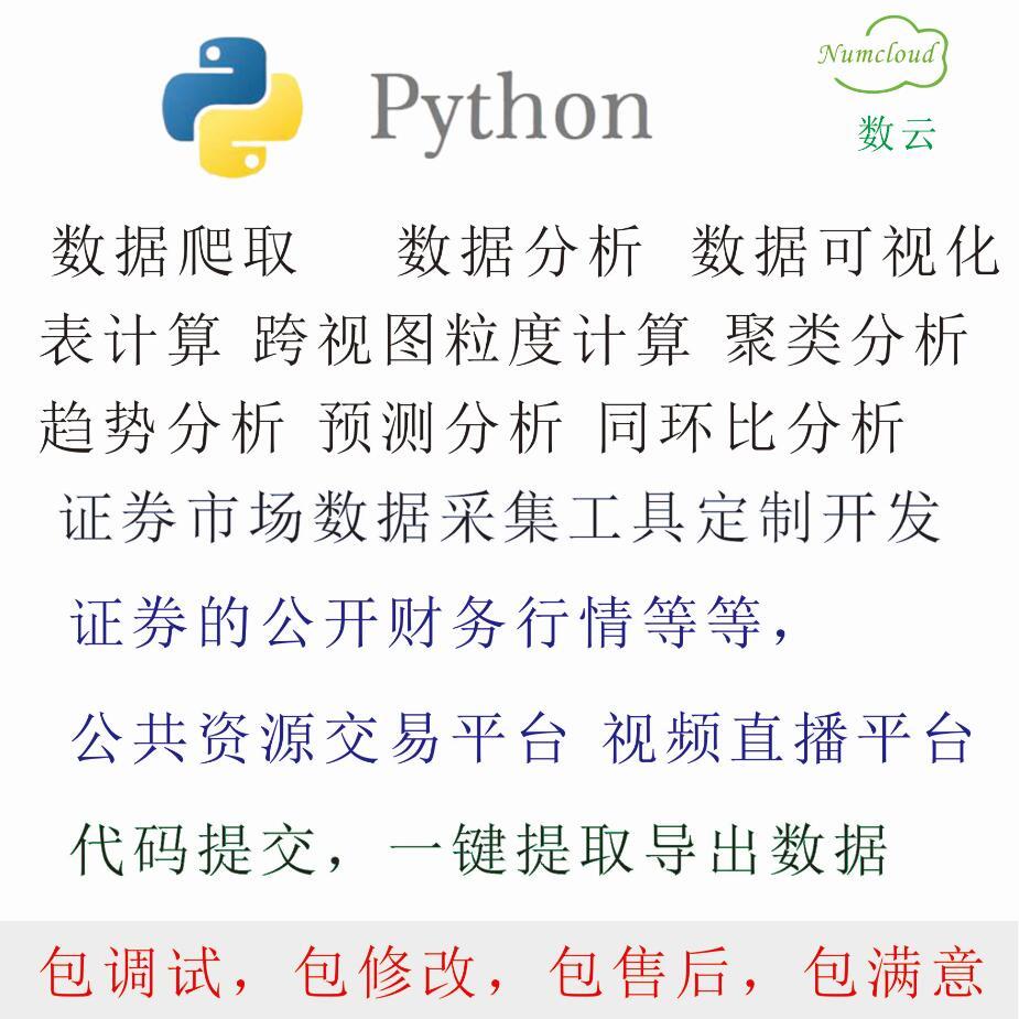 python算法代做证券行情公共资源交易视频直播平台数据采集可视化